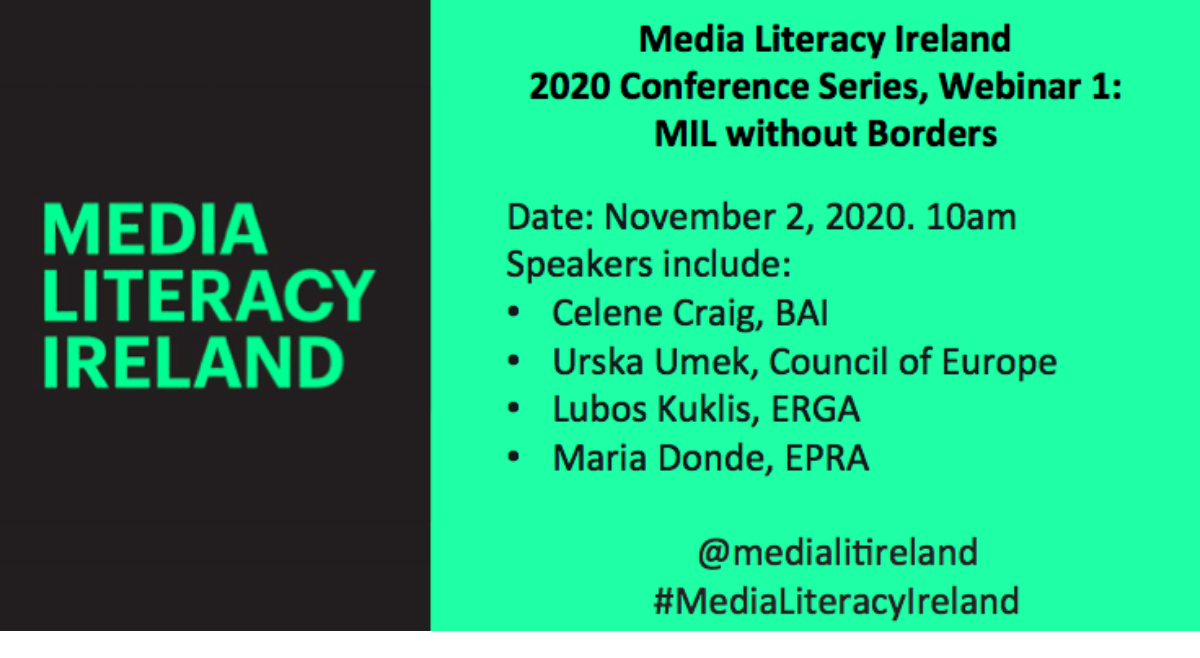 Media Literacy Ireland 2020 Conference details announced : Webinar 1: MIL without Borders